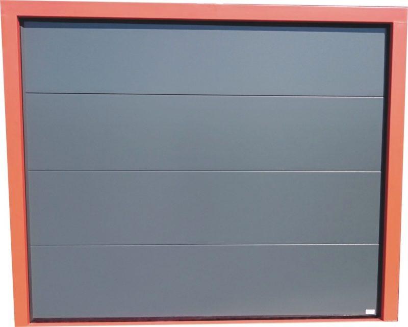 Porte sectionnelle lisse rainur e gris ou lisse blanc - Monter une porte de garage sectionnelle ...