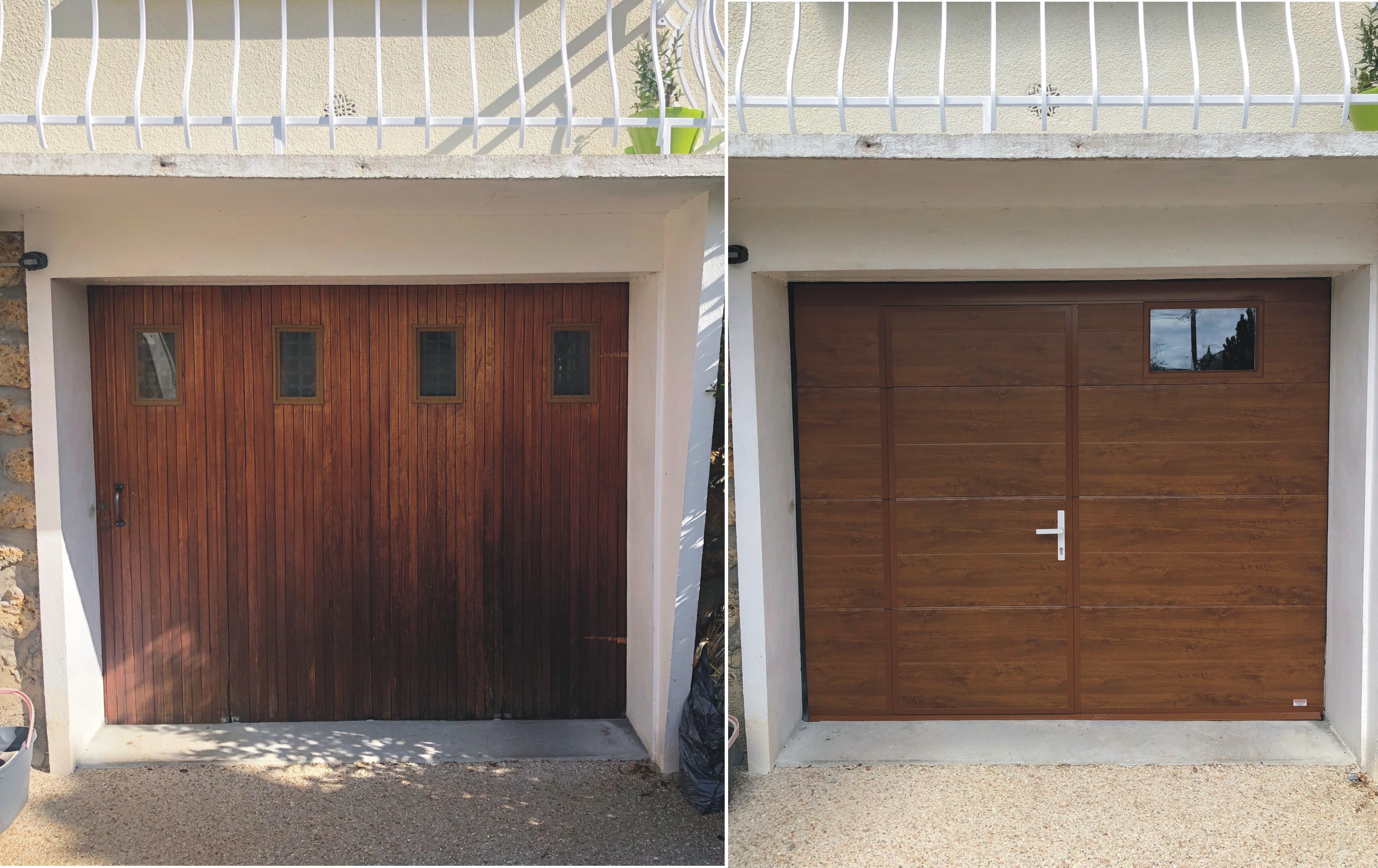 Porte sectionnelle lisse blanc ral 9016 avec hublot dim for Porte de garage 06